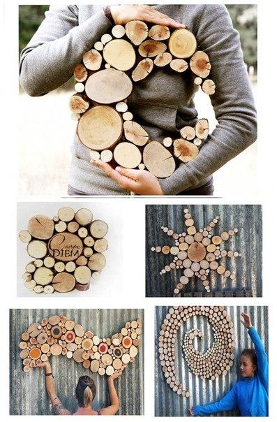 Подставка и украшения на стену из кусков дерева