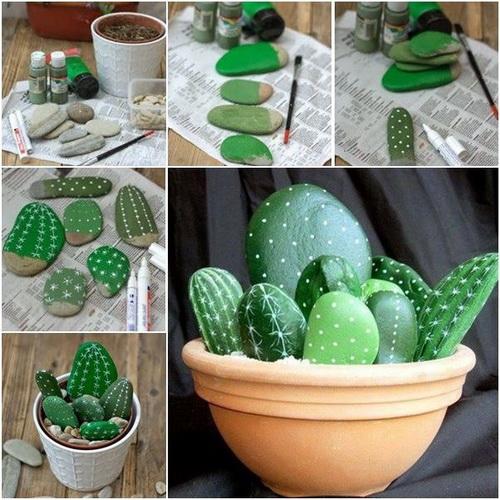 Раскрашенные камушки, оформленные в виде кактуса