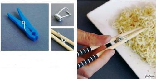 Пружинка от прищепки используется для скрепления палочек для еды