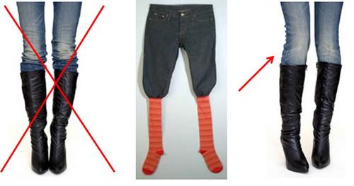 Девушка в джинсах и высоких сапогах