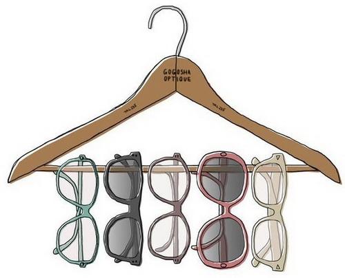 Солнечные очки висят на нижней перекладине вешалки