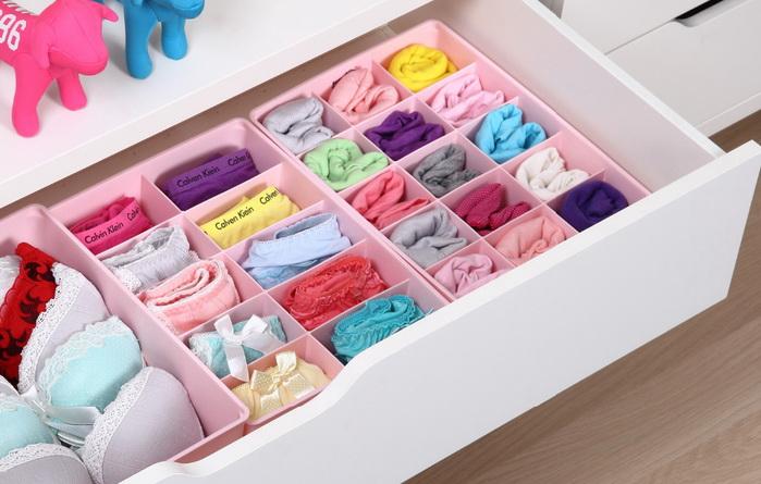Органайзеры для ящиков помогут организовать вещи в шкафу или комоде