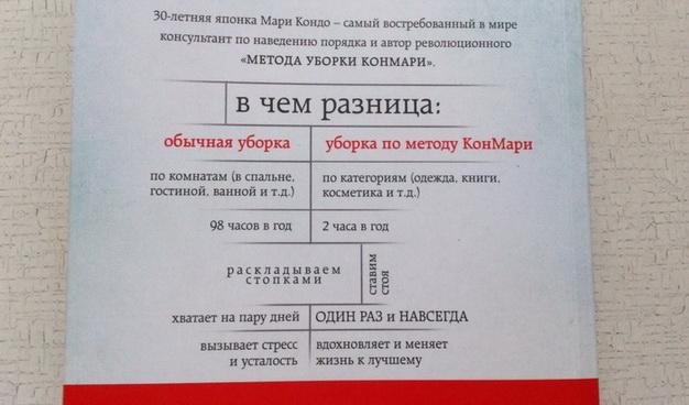 """Обложка книги """"Магическая уборка"""" (сзади) о методе уборки КонМари"""