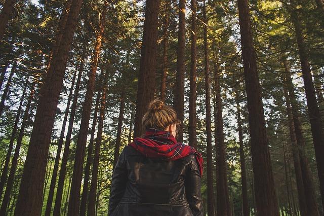 Девушка в ярком шарфе гуляет в лесу
