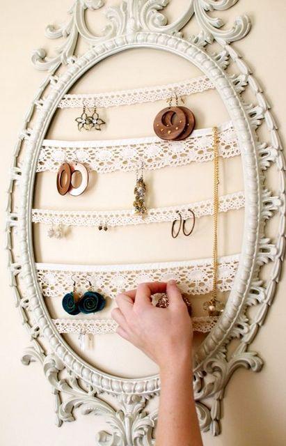 Рамка от зеркала с кружевом
