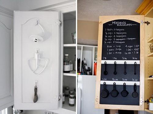 Кухонные инструменты, мерные стаканчики и ситечки хранятся на внутренней поверхности дверцы шкафчика на кухне