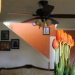 Тюльпаны на столе в чистой незахламленной квартире